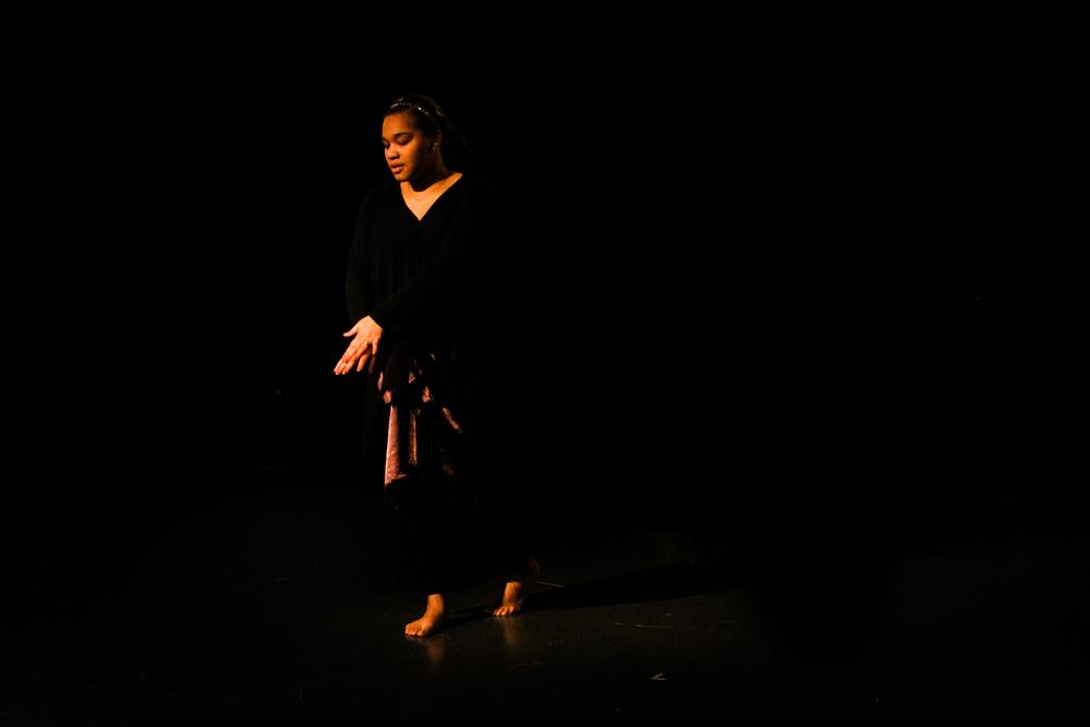 "Maryam A.K. DeWitt '18 as ""Lady in Brown.""Photo: Paris Baillie"