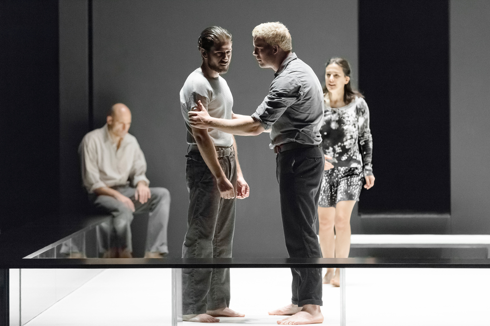 Mark Strong, Michael Zegen, Russell Tovey, and Phoebe Fox in A View From the Bridge.