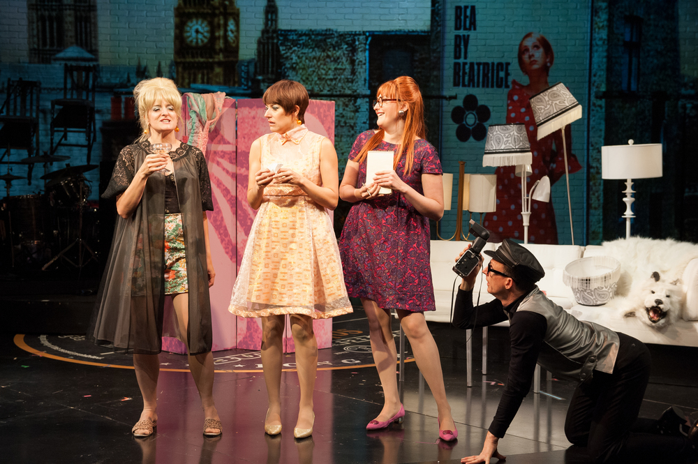 Keira Naughton, Nicole Parker, Liz Wisan, and Brad Heberlee in Atlantic Theater Company's These Paper Bullets!