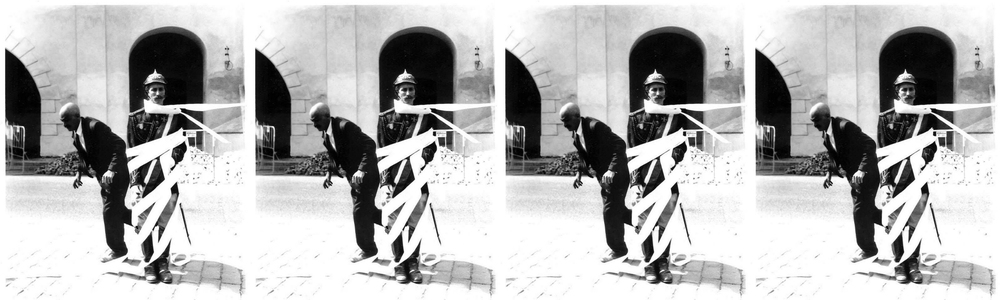 Belton and Phil Ristaino in performance on the streets of Prague,1994.