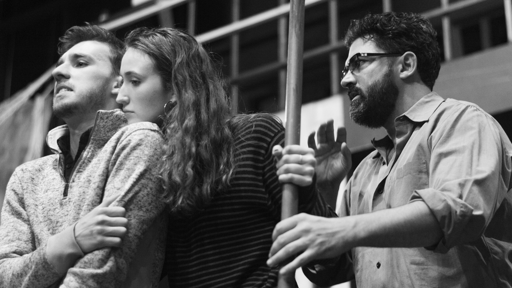 Mark Thurner '17, Lucy Consagra '18, and Belton in rehearsal for Hecuba. Photo: Dante Haughton '19