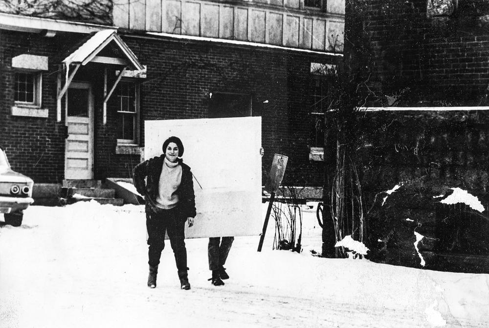 Diane Burko '66 and Elizabeth LeCompte '66 (obscured by homasote board).Clark Street, Saratoga circa 1965.