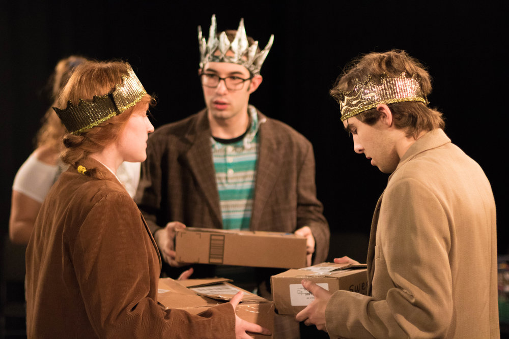 From left to right: Miranda Coble '19, Joe Doino '18, and Phillip Merrick '19 in The Secret in the Wings.