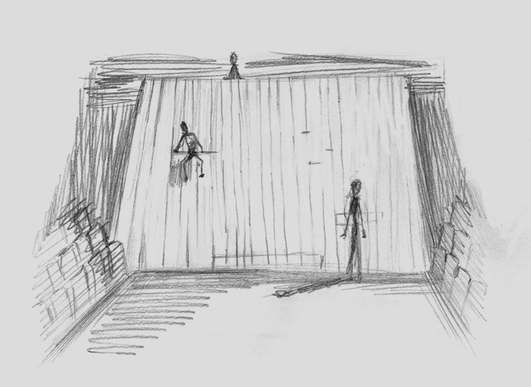 A sketch of the wall, an important part of the set design.